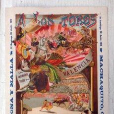 Carteles Toros: CARTEL TOROS, PLAZA VALENCIA, 1913 , COLOR, MACHAQUITO Y GAONA , ORIGINAL , X1. Lote 52941266