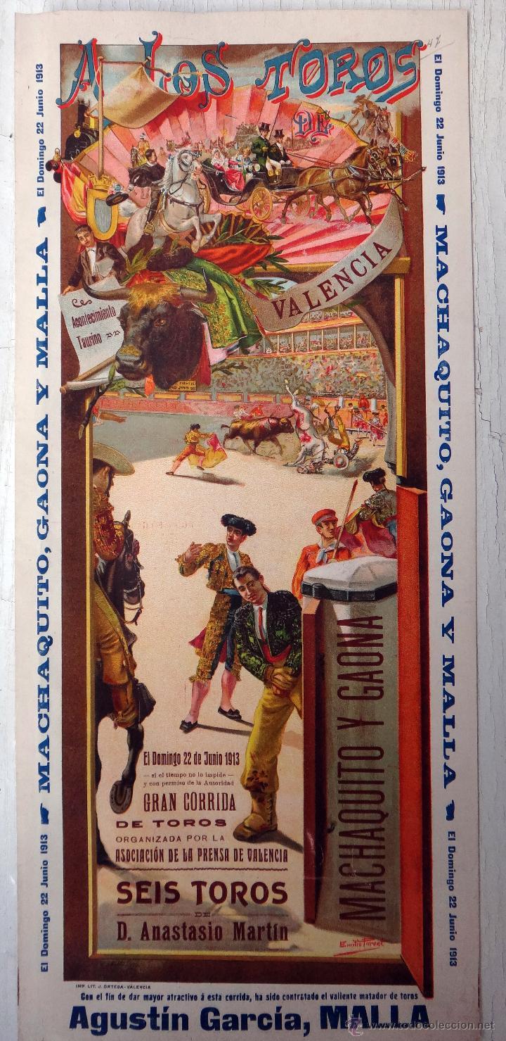 Carteles Toros: CARTEL TOROS, PLAZA VALENCIA, 1913 , COLOR, MACHAQUITO Y GAONA , ORIGINAL , X1 - Foto 2 - 52941266
