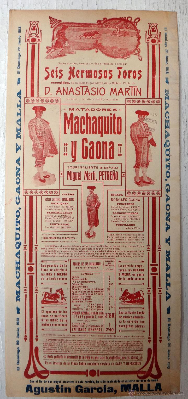 Carteles Toros: CARTEL TOROS, PLAZA VALENCIA, 1913 , COLOR, MACHAQUITO Y GAONA , ORIGINAL , X1 - Foto 3 - 52941266