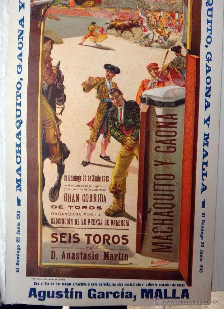 Carteles Toros: CARTEL TOROS, PLAZA VALENCIA, 1913 , COLOR, MACHAQUITO Y GAONA , ORIGINAL , X1 - Foto 5 - 52941266