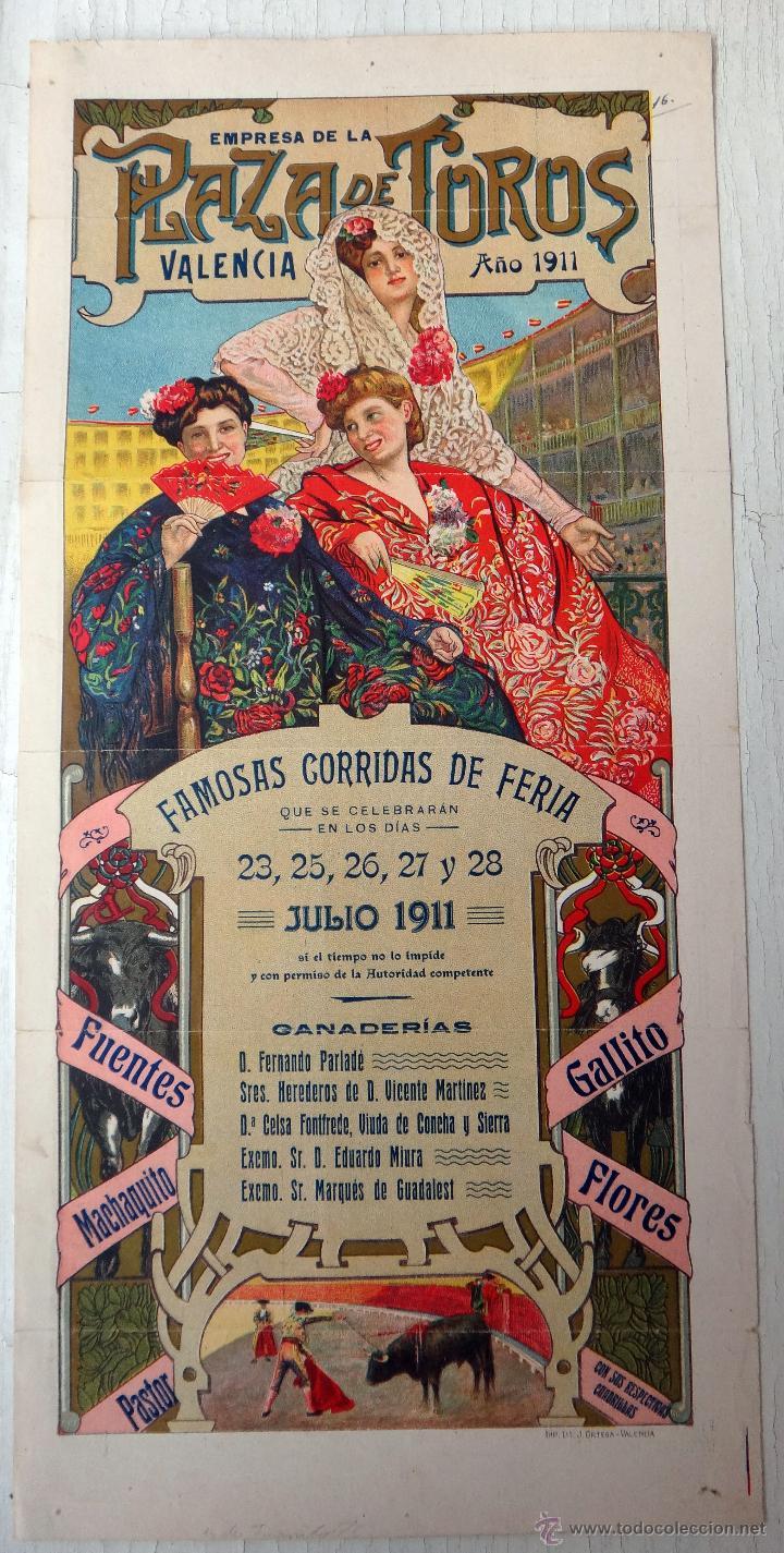 CARTEL TOROS, PLAZA VALENCIA, FERIA 1911 , COLOR, MACHAQUITO GALLITO FUENTES , ORIGINAL , X1 (Coleccionismo - Carteles Gran Formato - Carteles Toros)