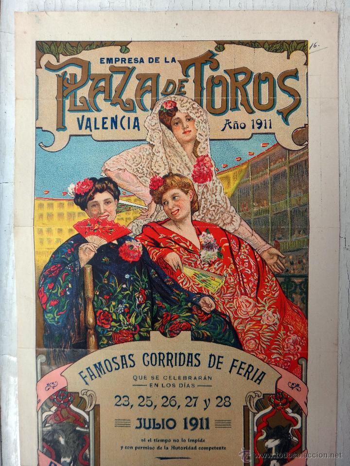 Carteles Toros: CARTEL TOROS, PLAZA VALENCIA, FERIA 1911 , COLOR, MACHAQUITO GALLITO FUENTES , ORIGINAL , X1 - Foto 2 - 52941354
