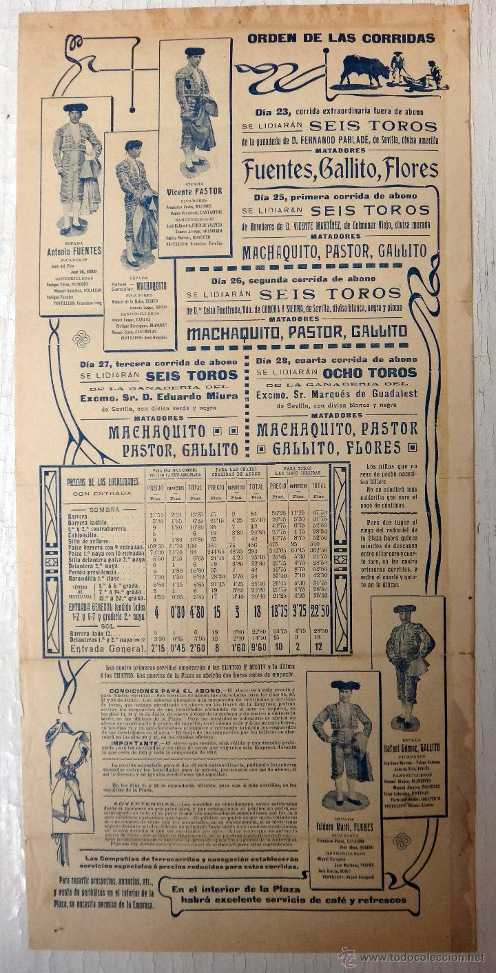 Carteles Toros: CARTEL TOROS, PLAZA VALENCIA, FERIA 1911 , COLOR, MACHAQUITO GALLITO FUENTES , ORIGINAL , X1 - Foto 4 - 52941354