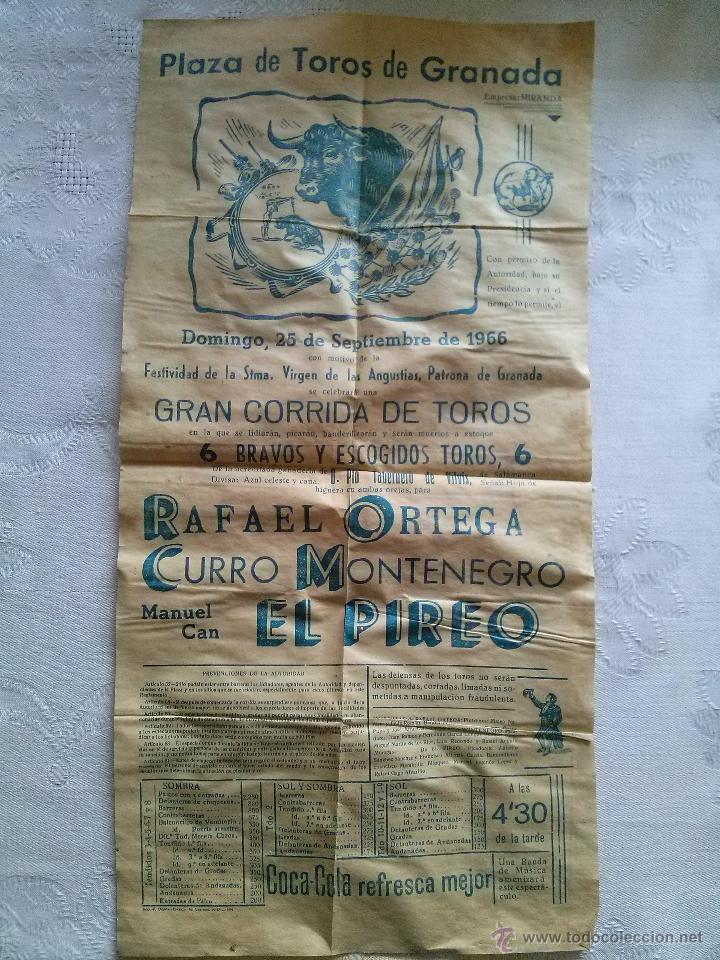 CARTEL TOROS PLAZA GRANADA 1966 22X43 (Coleccionismo - Carteles Gran Formato - Carteles Toros)