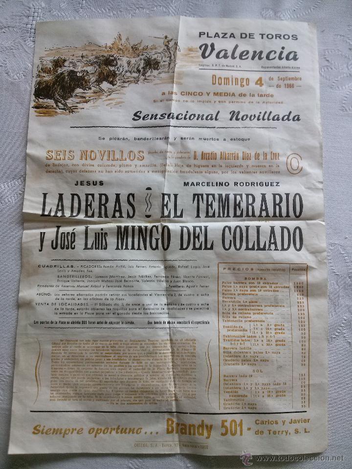 CARTEL TOROS PLAZA VALENCIA 1966 22X32 (Coleccionismo - Carteles Gran Formato - Carteles Toros)