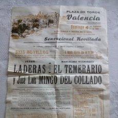 Carteles Toros: CARTEL TOROS PLAZA VALENCIA 1966 22X32. Lote 53060977