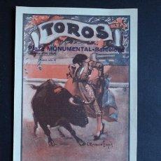 Carteles Toros: CARTEL DE TOROS DE BARCELONA. 19 DE JUNIO DE 1932. DEBUT DE EL ESTUDIANTE. CAGANCHO, CHICUELO. Lote 53096507