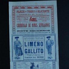 Carteles Toros: CARTEL DE TOROS DE ALICANTE. EMPRESA DE CAUDETE. 25 DE MAYO DE 1911. LIMEÑO Y JOSÉ GÓMEZ GALLITO.. Lote 53096541
