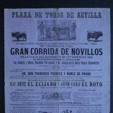Carteles Toros: CARTEL DE TOROS DE SEVILLA. 15 DE SEPTIEMBRE DE 1889. EL ECIJANO Y ANTONIO ESCOBAR EL BOTO.. Lote 53097497