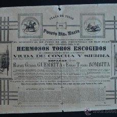 Carteles Toros: CARTEL DE TOROS DEL PUERTO DE SANTA MARÍA. 24 DE JUNIO DE 1894. GUERRITA Y BOMBITA.. Lote 53097589