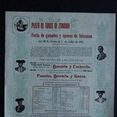 Carteles Toros: CARTEL DE TOROS DE ZAMORA. BOMBITA Y COCHERITO. FUENTES Y GAONA.. Lote 53098001
