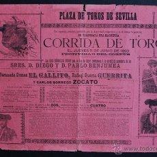 Carteles Toros: CARTEL DE TOROS DE SEVILLA. 5 DE JUNIO DE 1890. FERNANDO GÓMEZ EL GALLITO, GUERRITA Y ZOCATO.. Lote 53098013