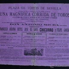 Carteles Toros: CARTEL DE TOROS DE SEVILLA. 27 DE MAYO DE 1880. FRANCISCO ARJONA REYES, CHICORRO Y FELIPE GARCÍA. Lote 53098045