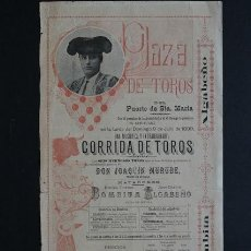 Carteles Toros: CARTEL DE TOROS DEL PUERTO DE SANTA MARÍA. 9 DE JULIO DE 1899. EMILIO T. BOMBITA Y JOSÉ G. ALGABEÑO. Lote 53098142