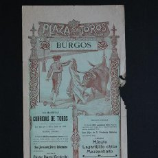 Carteles Toros: CARTEL DE TOROS DE BURGOS. 29 Y 30 DE JUNIO DE 1909. COCHERITO, PEPETE, LAGARTIJILLO CHICO, ETC.. Lote 53098236