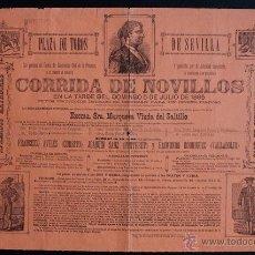 Carteles Toros: CARTEL DE TOROS DE SEVILLA. 5 DE JULIO DE 1885. CURRITO, PUNTERET Y RAIMUNDO RODRÍGUEZ (VALLADOLID).. Lote 53098250