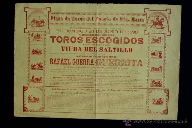 CATEL DE TOROS DEL PUERTO DE SANTA MARÍA. 25 DE JUNIO DE 1893. 6 TOROS PARA RAFAEL GUERRA GUERRITA. (Coleccionismo - Carteles Gran Formato - Carteles Toros)