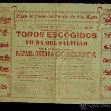 Carteles Toros: CATEL DE TOROS DEL PUERTO DE SANTA MARÍA. 25 DE JUNIO DE 1893. 6 TOROS PARA RAFAEL GUERRA GUERRITA.. Lote 53099806