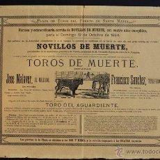 Carteles Toros: CARTEL DE TOROS DEL PUERTO DE SANTA MARÍA. 12 DE OCTUBRE DE 1884. JOSÉ MALAVER , EL MELLADO, ETC.. Lote 53099861