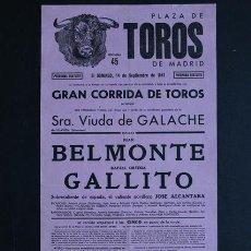 Carteles Toros: CARTEL DE TOROS DE MADRID. 14 DE SEPTIEMBRE DE 1941. JUAN BELMONTE Y RAFAEL ORTEGA GALLITO. . Lote 53100117