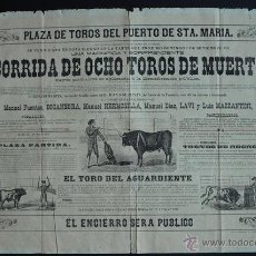 Carteles Toros: CARTEL DE TOROS DEL PUERTO DE SANTA MARÍA. 2 DE SEPTIEMBRE DE 1883.BOCANEGRA, MAZZANTINI, HERMOSILLA. Lote 53137982