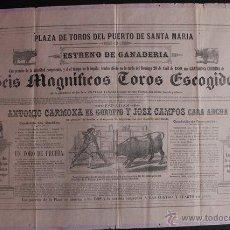 Carteles Toros: CARTEL DE TOROS DEL PUERTO DE SANTA MARÍA. 28 DE ABRIL DE 1889. A. CARMONA EL GORDITO Y CARA-ANCHA. Lote 53138104