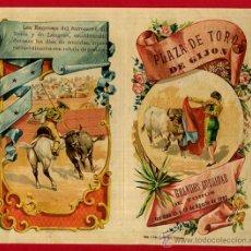 Carteles Toros: CARTEL TOROS , PROGRAMA PLAZA DE GIJON , 1905 , ANTIGUO, LITOGRAFIA , MINUTO Y MONTES, ORIGINAL , X. Lote 53138788