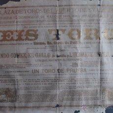 Carteles Toros: CARTEL DE TOROS DEL PUERTO DE SANTA MARÍA. 27 DE MAYO DE 1888. EL GALLO Y LUIS MAZZANTINI. Lote 53278368