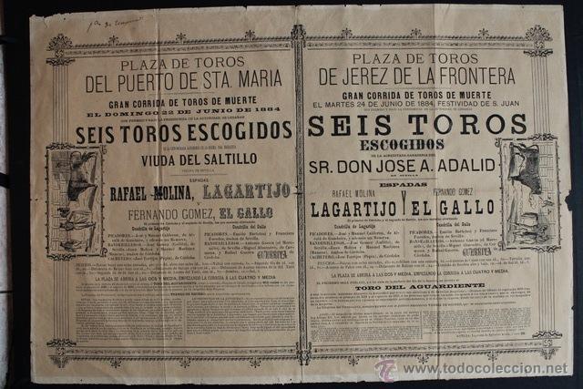 CARTEL DE TOROS DEL PUERTO DE SANTA MARÍA Y DE JEREZ DE LA FRONTERA. 22 Y 24 DE JUNIO DE 1884. GALLO (Coleccionismo - Carteles Gran Formato - Carteles Toros)