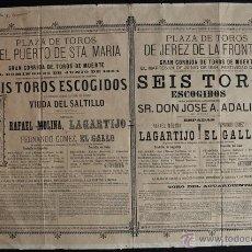 Carteles Toros: CARTEL DE TOROS DEL PUERTO DE SANTA MARÍA Y DE JEREZ DE LA FRONTERA. 22 Y 24 DE JUNIO DE 1884. GALLO. Lote 53278380