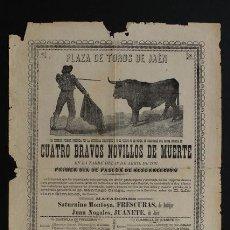 Carteles Toros: CARTEL DE TOROS DE JAÉN. 18 DE ABRIL DE 1897. SATURNINO MONTOYA, FRESCURAS, Y JUAN NOGALES. Lote 53278552