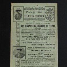 Carteles Toros: CARTEL DE TOROS DE BURGOS. 29 Y 30 DE JUNIO DE 1912. MAZZANTINITO, MANUEL RODRÍGUEZ (MANOLETE) . Lote 53278598