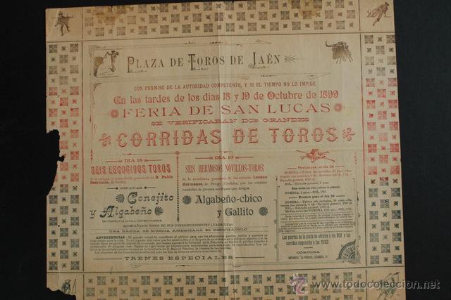 CARTEL DE TOROS DE JAÉN. FERIA DE SAN LUCAS. OCTUBRE DE 1899. ALGABEÑO-CHICO Y GALLITO. (Coleccionismo - Carteles Gran Formato - Carteles Toros)