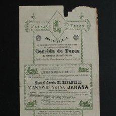 Carteles Toros: CARTEL DE TOROS DE SEVILLA. 24 DE MAYO DE 1894. MANUEL GARCÍA EL ESPARTERO Y ANTONIO ARANA JARANA. Lote 53278854