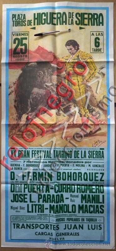 CARTEL DE TOROS AÑO 1989 CURRO ROMERO BOHÓRQUEZ LITRI PARADA PUERTA MANILI TAUROMAQUIA LÓPEZ CANITO (Coleccionismo - Carteles Gran Formato - Carteles Toros)