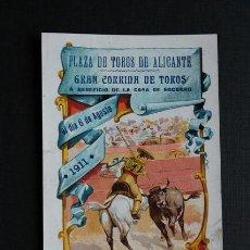 Carteles Toros: CARTEL DE TOROS DE ALICANTE. 6 DE AGOSTO DE 1911. RICARDO TORRES BOMBITA. Lote 53390029