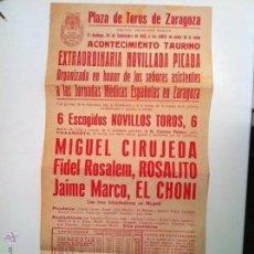 Carteles Toros: CARTEL PLAZA DE TOROS DE ZARAGOZA 1943. NOVILLADA CON PICADORES. Lote 54187912