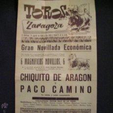 Carteles Toros: CARTEL PLAZA DE TOROS DE ZARAGOZA 1958. Lote 54396118