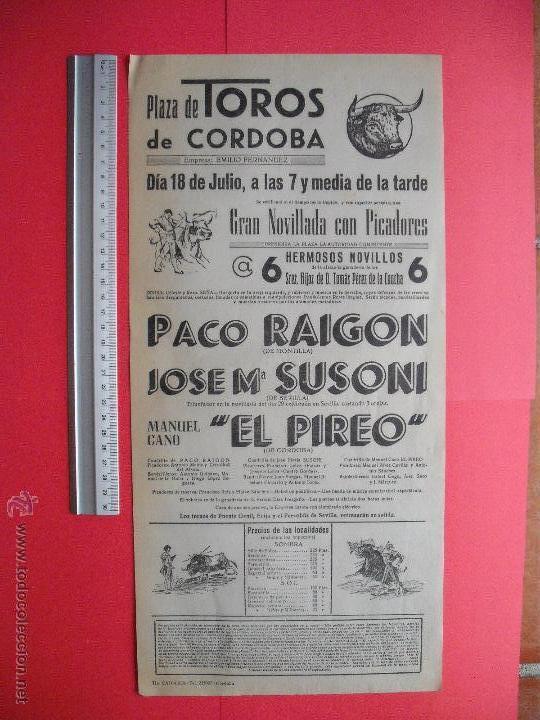 CARTEL PROGRAMACION - PLAZA DE TOROS DE CORDOBA (Coleccionismo - Carteles Gran Formato - Carteles Toros)