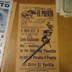 Carteles Toros: ANTIGUO CARTEL DE TOROS PUERTO DE SANTA MARIA CADIZ - 1978 NIÑO DEL TESORILLO GUILLOTO EL VARILLA . Lote 54454001