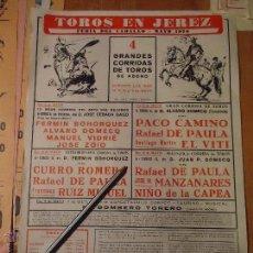 Carteles Toros: ANTIGUO CARTEL DE TOROS JEREZ CADIZ - 1976 RAFAEL DE PAULA MANZANARES CURRO ROMERO.... Lote 54454059