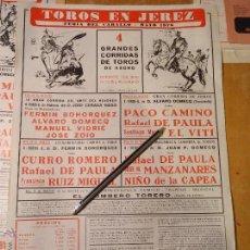 Carteles Toros: ANTIGUO CARTEL DE TOROS JEREZ CADIZ - 1976 PACO CAMINO BOMBERO TORERO CURRO ROMERO. Lote 54454142