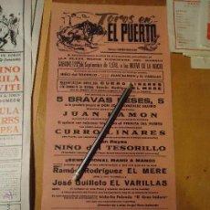 Carteles Toros: ANTIGUO CARTEL DE TOROS PUERTO DE SANTA MARIA CADIZ -1978 CURRO LINARES GUILLOTO JUAN RAMON .... Lote 54454173