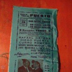 Carteles Toros: CARTEL DE TOROS DE SEDA, PLAZA DEL PUERTO. RAFAEL ORTEGA, DIEGO PUERTA, CURRO ROMERO,... AÑO 1971.. Lote 54454264