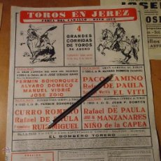 Carteles Toros: ANTIGUO CARTEL TOROS EN JEREZ CADIZ 1976 PACO CAMINO RAFAEL PAULA EL VITI JOSE ZOILO.... Lote 54454285