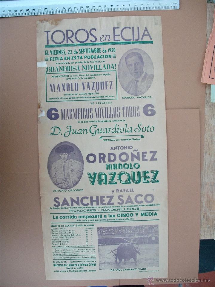 PLAZA DE TOROS DE ECIJA ( SEPTIEMBRE DE 1950) (Coleccionismo - Carteles Gran Formato - Carteles Toros)