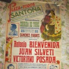 Carteles Toros: ANTIGUO CARTEL PLAZA DE TOROS DE SANTOÑA SANTANDER 1954 ANTONIO BIENVENIDA JUAN SILVETI VICTORIANO . Lote 54740739