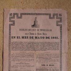 Carteles Toros: CARTEL DE TOROS DEL PUERTO DE SANTA MARÍA. MES DE MAYO DE 1885. TORO DEL AGUARDIENTE.. Lote 54743737