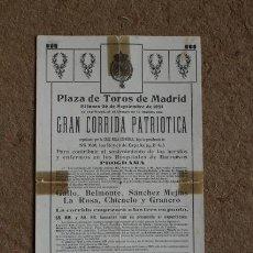 Carteles Toros: PROGRAMA DE TOROS DE MADRID. 26 DE SEPTIEMBRE DE 1921. CORRIDA PATRIÓTICA. GALLO, BELMONTE, GRANERO.. Lote 54744503