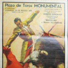 Carteles Toros: CARTEL TAURINO. PLAZA MONUMENTAL DE BARCELONA. PEDRO BALAÑA. 1969.. Lote 49395803